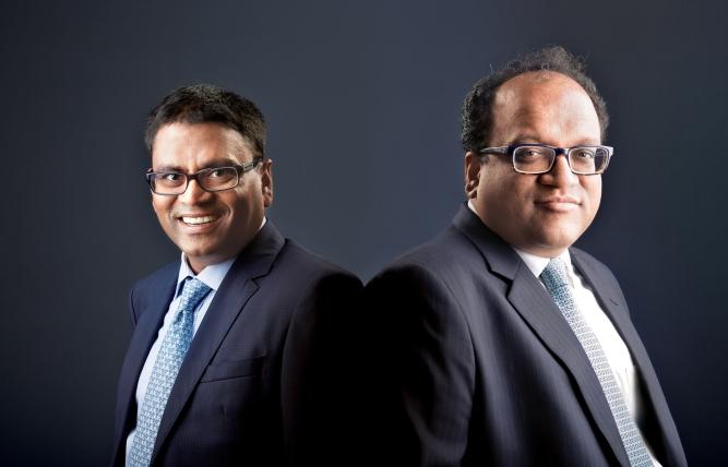 Manish Goenka (left) and Aditya V. Agarwal, directors of Emami Group.