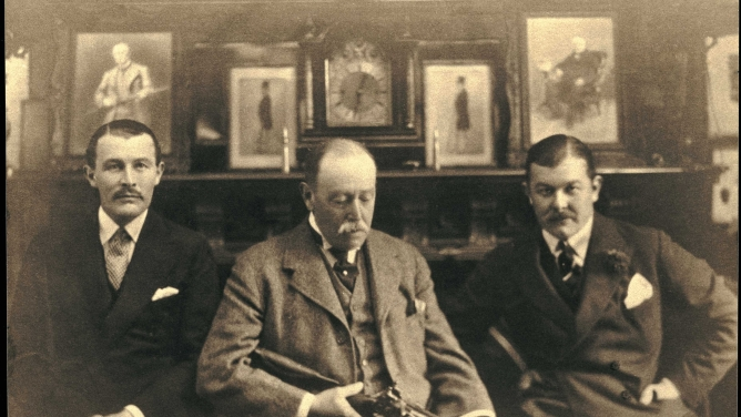 Athol Purdey (centre), grandson of the founder James Purdey, with his sons James (left) and Thomas. The sons, both World War I veterans, took over the business in 1929 and then sold it to Hugh and Victor Seely, after World War II.