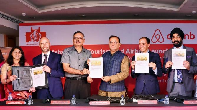 Maharashtra tourism minister Jaykumar Rawal (third from right) and Airbnb India head Amanpreet Bajaj (right) at a programme to identify hosts for homestays near Elephanta Caves.