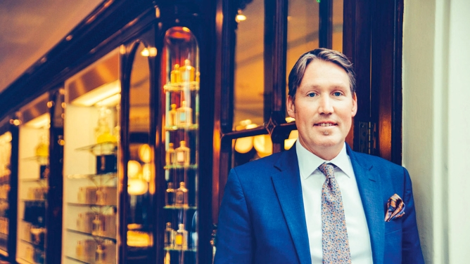 Edward Bodenham is the perfumery director of Floris and a ninth-generation descendant of the founder. Floris has received a total of 17 royal warrants.