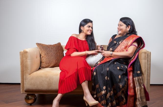 Falguni Nayar, founder of Nykaa, with her daughter Adwaita Nayar