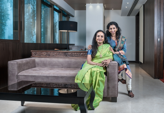 Renuka Ramnath, private equity fund manager, with her daughter Ramya Ramnath