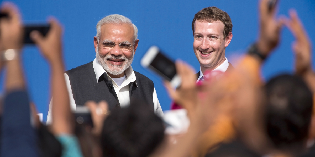 Prime Minister Narendra Modi meets with Facebook's Chief Executive Officer Mark Zuckerberg.