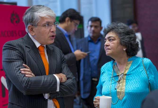 Manish Sabharwal, co-founder chairman of Teamlease Services and Zia Mody, co-founder, AZB & Partners.