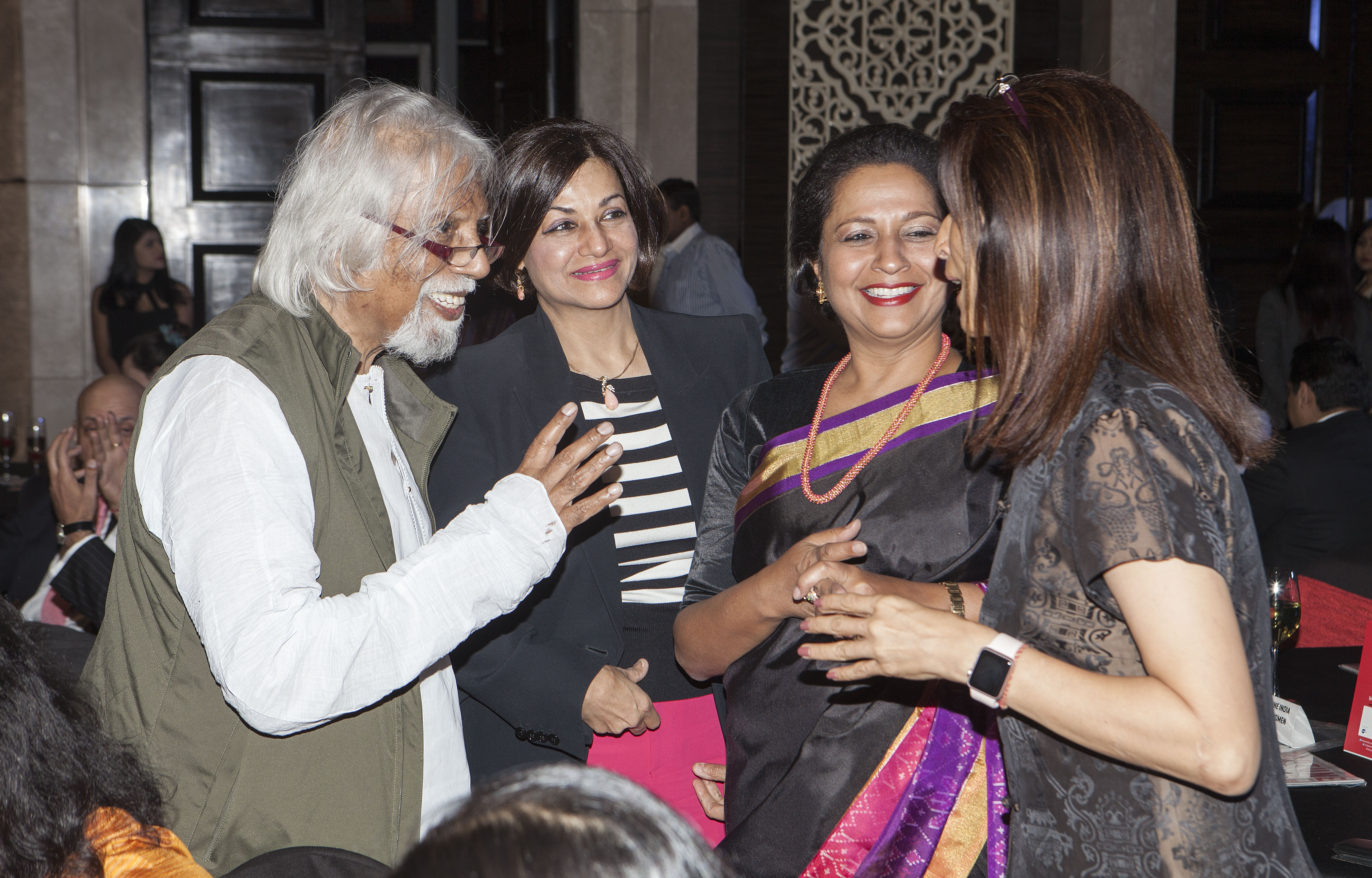 Aveek Sarkar, vice chairman and editor emeritus, ABP Group and chief editor, Fortune India with Harshbeena Zaveri, vice chairman and managing director, NRB Bearings (from left to right), Priya Paul, chairperson, Apeejay Surendra Park Hotels.