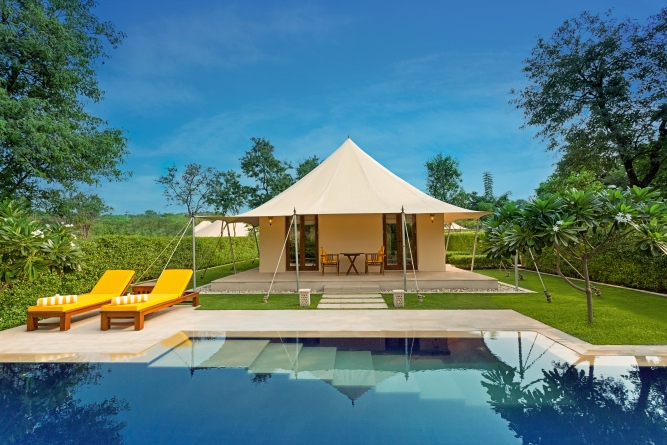 Royal tent with private pool atThe Oberoi Sukhvilas Resort & Spa, Siswan Forest Range, New Chandigarh.