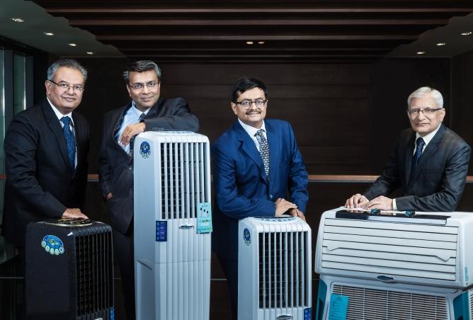 From Left: Vijay Joshi, chief executive officer, India, Rajesh Mishra, president of sales and marketing, Nrupesh Shah, executive director, corporate affairs, and Falgun Shah, chief executive officer, International Subsidiaries, Symphony.