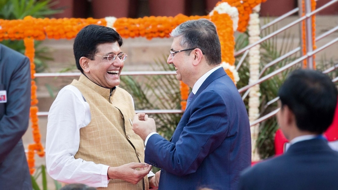 Billionaire banker Uday Kotak with commerce and industry minister Piyush Goyal.