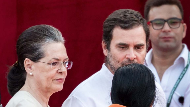 Congress president Rahul Gandhi with his mother and UPA chairperson Sonia Gandhi