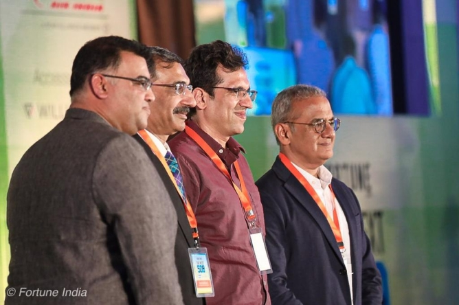 Milkbasket co-founder and CEO Anant Goel, Vipul Sabharwal, MD, Luminous Power Technologies, Hitesh Oberoi, CEO, Info Edge, and Achal Bakeri, MD, Symphony Limited.