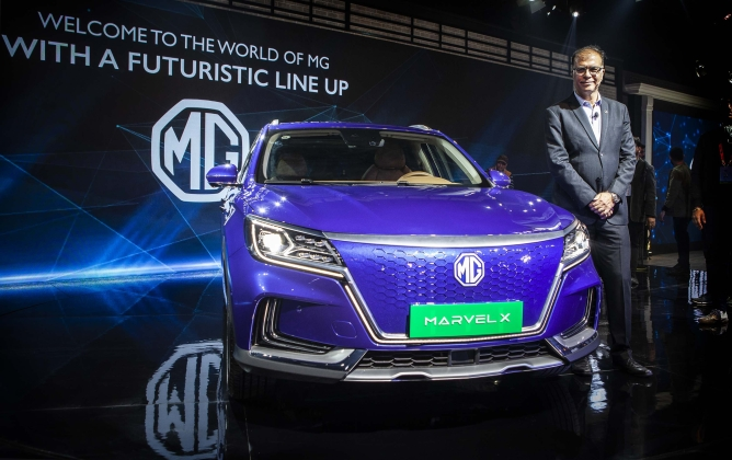 MG Motor's Marvel X. It has a range of 380 km per charge and do 100 km per hour in 3.1 seconds.