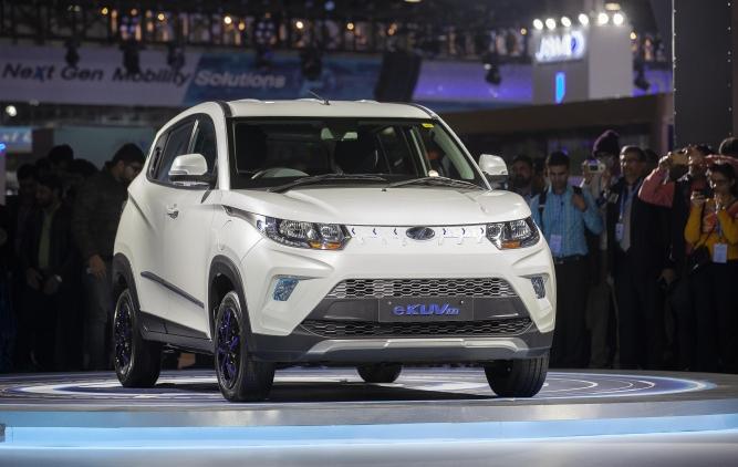 Mahindra's eKUV 100, a compact SUV which runs 120 km on a single charge.