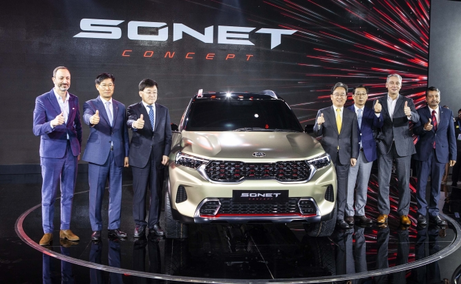 Kia Sonet, a compact SUV, whose production is expected to begin later this year.
