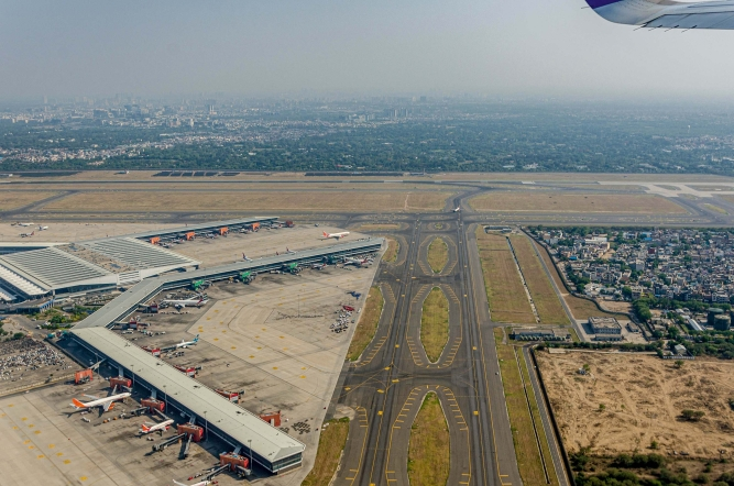 The Delhi airport has three runways, with the third one being added only in 2008.