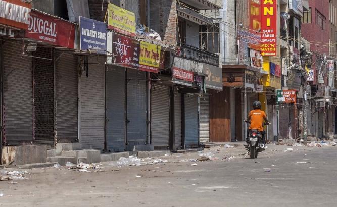 Deserted market in Delhi on Sunday.