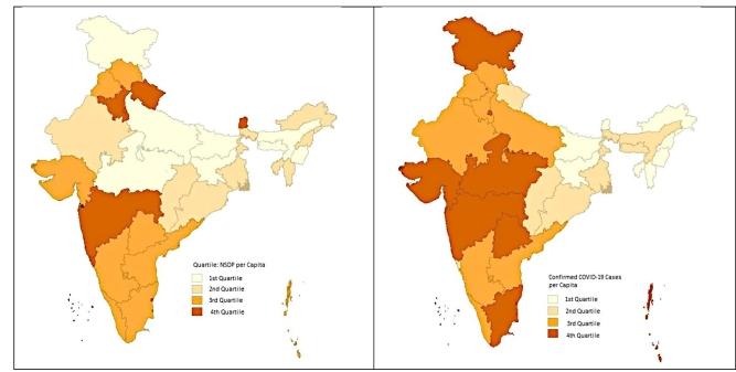 Figure 3A: NSDP per capita; Figure 3B: Per capita cases