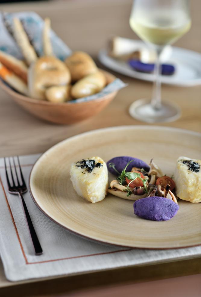 The Ocean Turns Purple, a signature dish at Taj's Machan