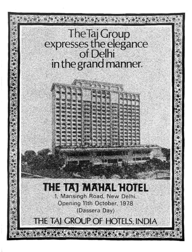 A 1978 advertisement of New Delhi's the Taj Mahal Hotel.