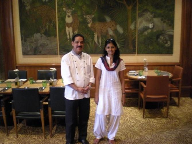 Actor-director Nandita Das with chef Tapash Bhattacharya