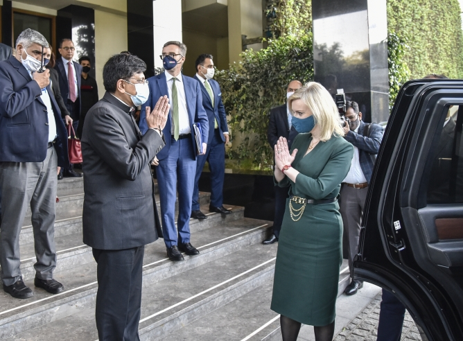Union commerce minister Piyush Goyal (left) with Truss in Delhi. Truss said she was committed to working together with Goyal to forge a stronger partnership between the two countries.