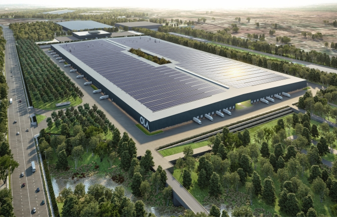 An artist's impression of Ola's electric factory in Krishnagiri, Tamil Nadu. It is expected to be completed by next year.