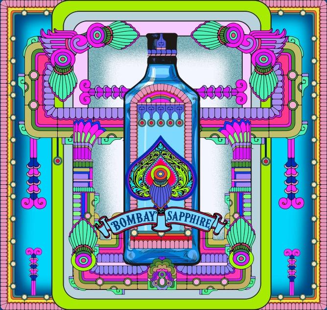 A limited edition Bombay Sapphire Stir Creativity coaster designed by Param Sahib.
