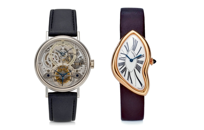 (left) Breguet, 18k white gold,  skeletonised, tourbillon;  price not available (right) Cartier Crash, 18k pink gold  with curved case; price realised: $137,500