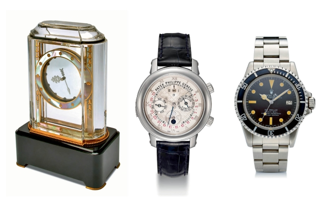 (left) Cartier Mystery Clock, Model  A; price realised: $562,500  (center) Patek Philippe, Sky Moon Tourbillon;  price realised: $1,590,000  (right) Rolex, Sea Dweller, 'Great White',  in steel; price not available