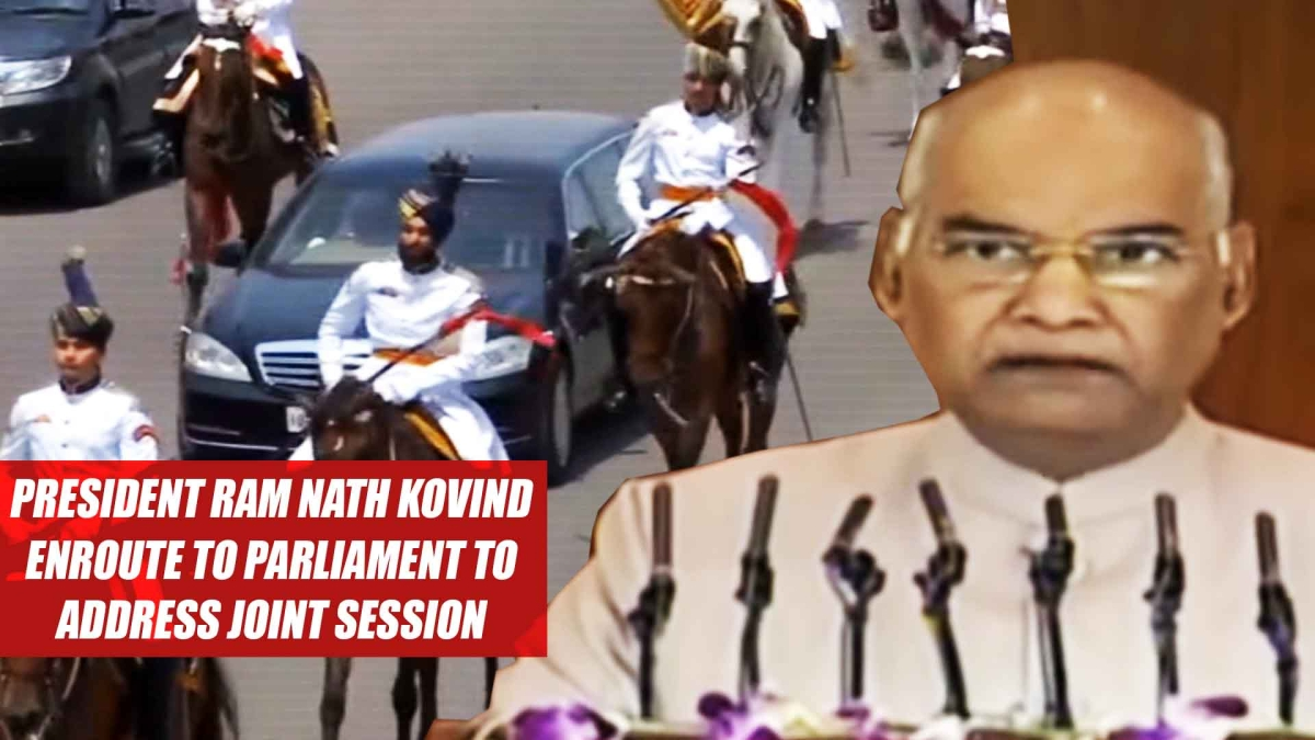 President Ram Nath Kovind Enroute To Parliament To Address Joint Session Of Both The Houses