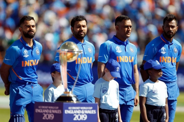 From left to right Indian players Virat Kohli, Rohit Sharma, MS Dhoni and Hardik Pandya