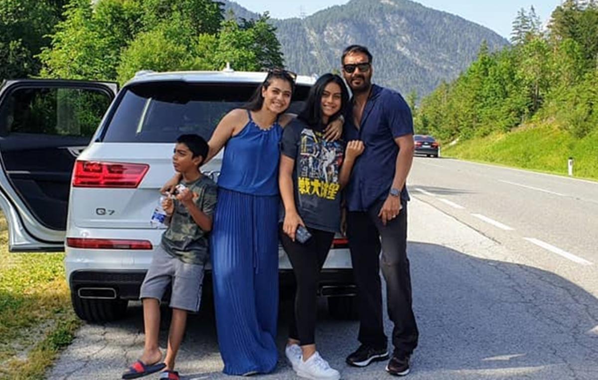 Ajay, Kajol go on road trip with kids Nysa and Yug