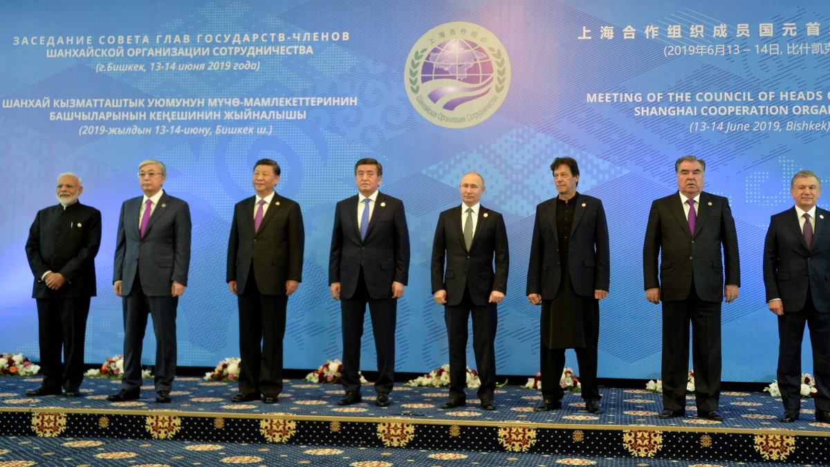 Leaders pose for a photo prior to a meeting of the Shanghai Cooperation Organisation (SCO) Council of Heads of State in Bishkek on June 14, 2019.