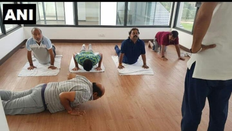 Amid Karnataka Crisis, JD(S) leaders lodged at Prestige Golfshire Club practice Yoga