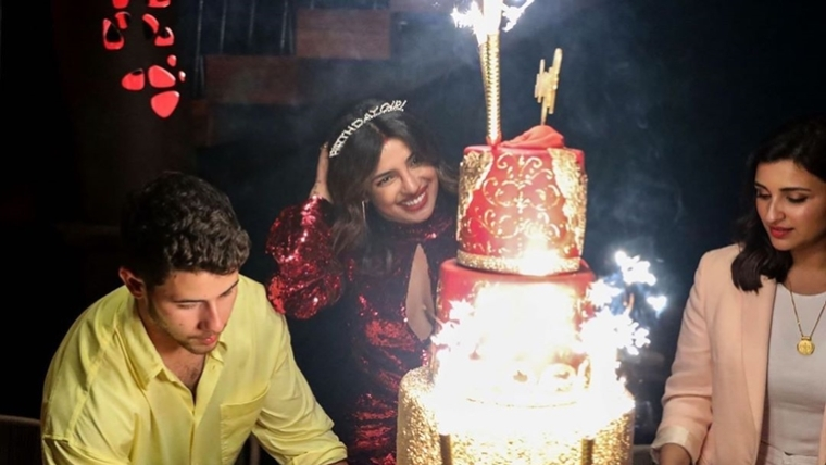 Watch Priyanka Chopra celebrate birthday with hubby and a five tier cake of his height