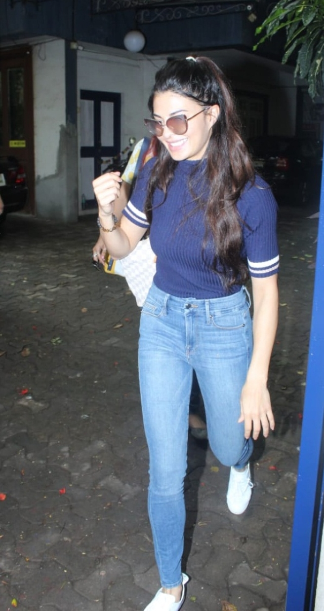 Jacqueline Fernandez was spotted at dubbing studio in Bandra today.