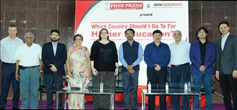 (L to R) Ed Peters, Performance Coach and Career Counselling Expert; R N Bhaskar, Consulting Editor; Shobhit Jayaswal, expert on MBBS degree courses abroad; Bharati Bacha, Education Advisor; Tara Scheurwater, Consul and Senior Trade Commissioner, Consulate General of Canada; Sujit Nair, Manager, Campus France, Ahmedabad; Varun Kapoor, Additional Director General of Police, Indore zone; Ryan Pereira, Regional Officer, United State-India Education Foundation;  Prashant Hemnani, Managing Director, The Globalizers and Abhishek Karnani, Director, Free Press Journal Group