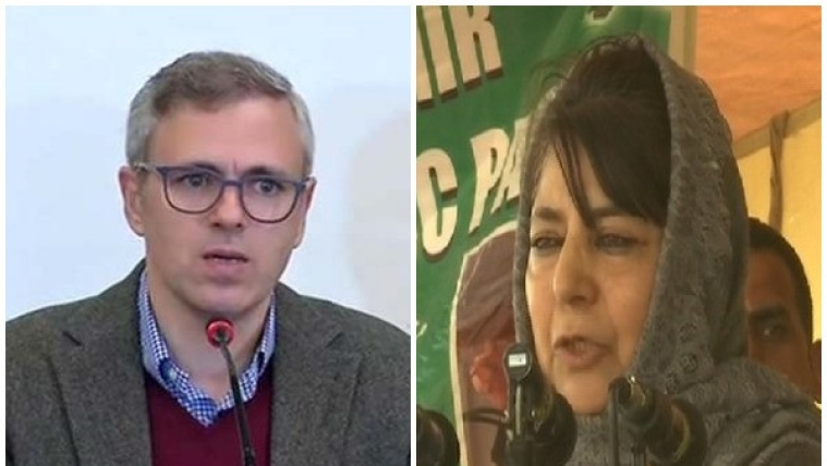 National Conference leader Omar Abdullah (L) and PDP chief Mehbooba Mufti (R)