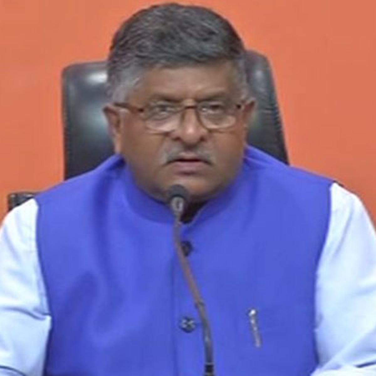 Rahul Gandhi is weakening Coronavirus fight, says Union Law and Telecom Minister Ravi Shankar Prasad