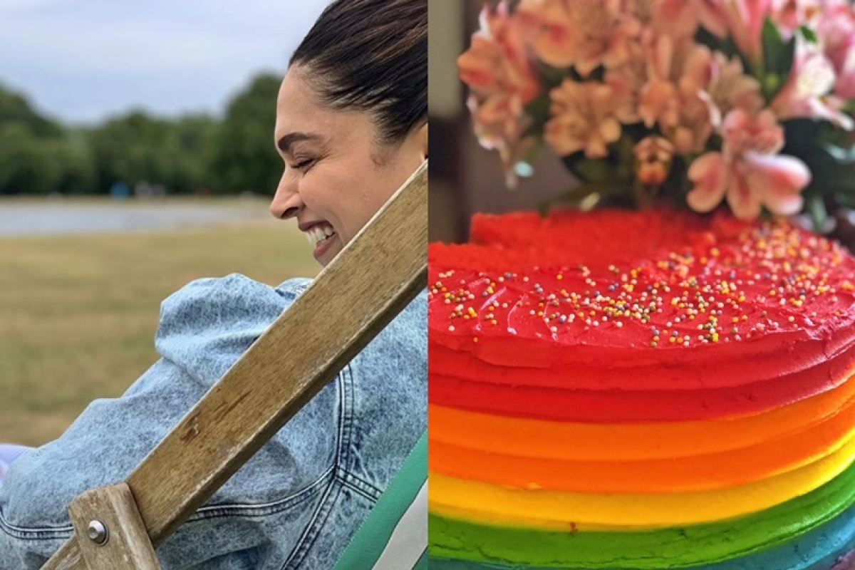 Deepika Padukone shares a snap of Ranveer Singh's rainbow birthday cake!