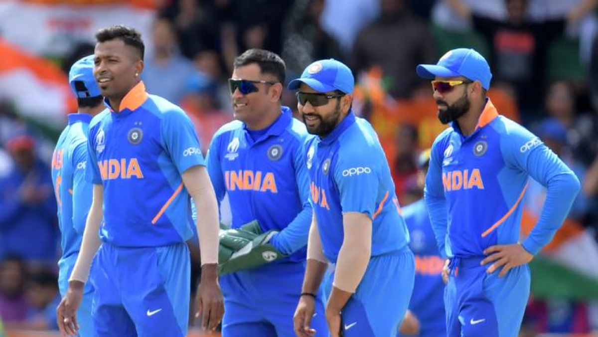 Team India in action during their last league game against Sri Lanka in World Cup 2019