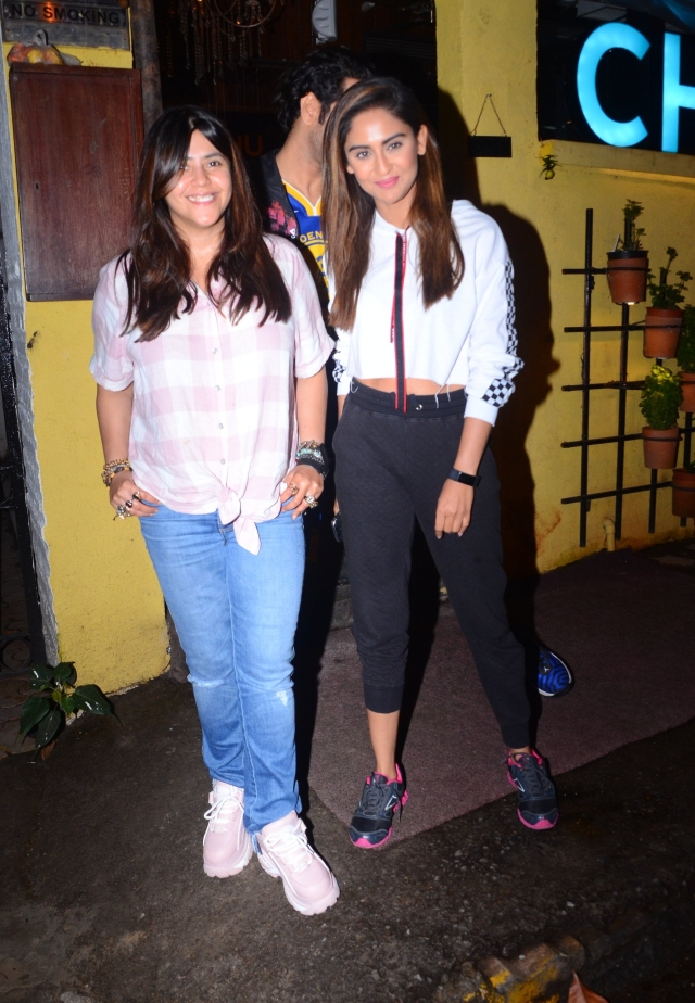 Ekta Kapoor enjoyed her Sunday dinner with Krystal D'souza at Chin Chin Chu Asian restaurant in Juhu.
