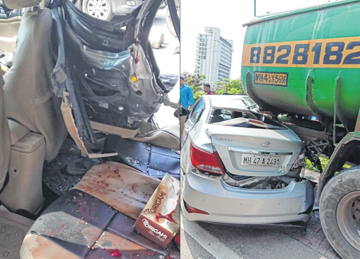 Mumbai: Car rams into stationary water tanker, four teens also injured, one of them still unconscious