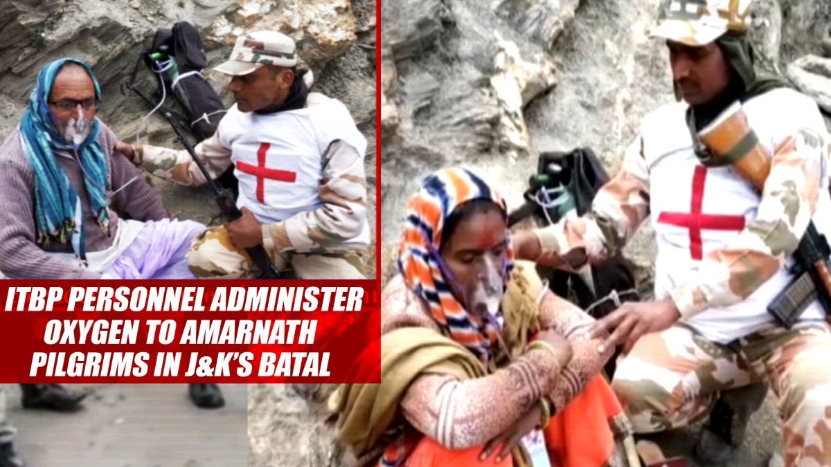 ITBP Personnel Administer Oxygen To Amarnath Pilgrims In J&K's Batal
