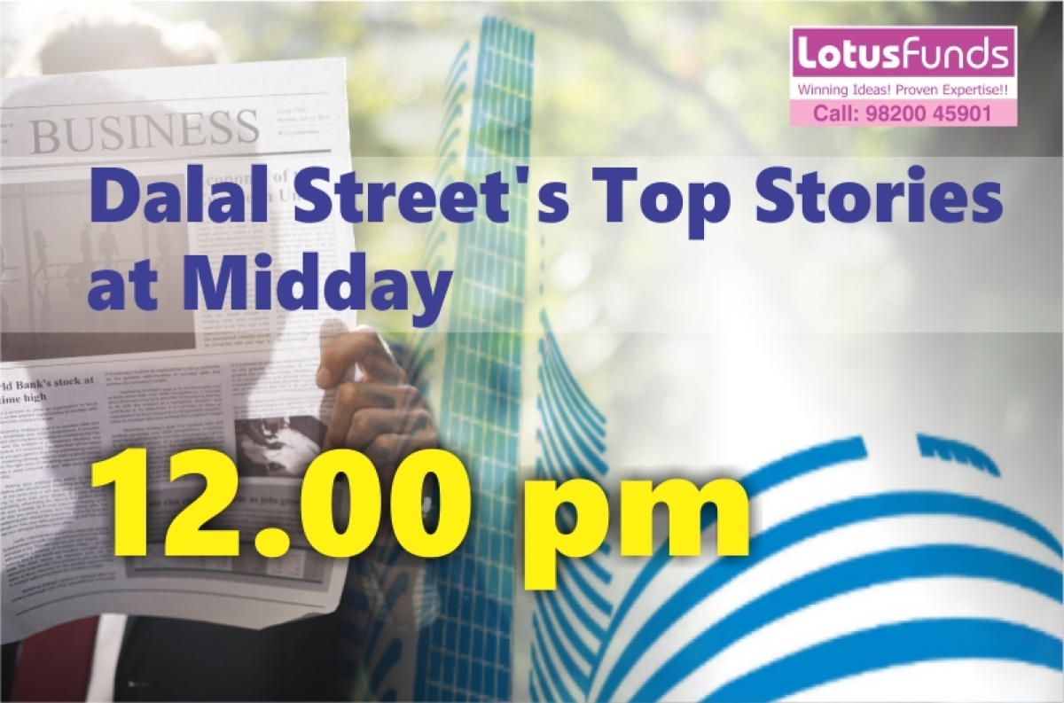 Dalal Street's Top Stories at Midday.12.00 PM, 29th August 2019:(Nifty 10962, Down 83 points): Benchmark indices are trading near day's low, dragged by weakness in IT and Bank stocks.