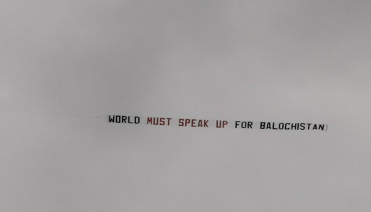 Plane with 'World Must Speak Up For Balochistan' banner flies during CWC'19 second semifinal