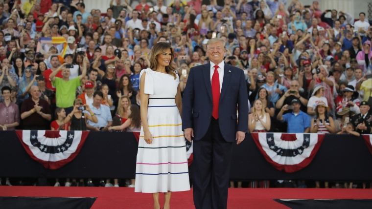 President Donald Trump and first lady Melania Trump arrive at an Independence Day celebration in front of the Lincoln Memorial