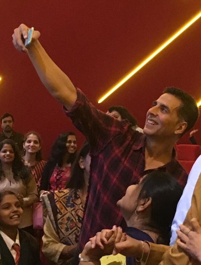 Akshay Kumar visited the INOX movie theatre for one of the Mission Mangal's shows.