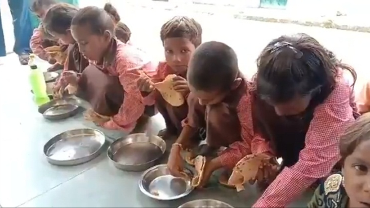 Salt with rotis! That's all 100 children at Mirzapur primary school were served in mid-day meal