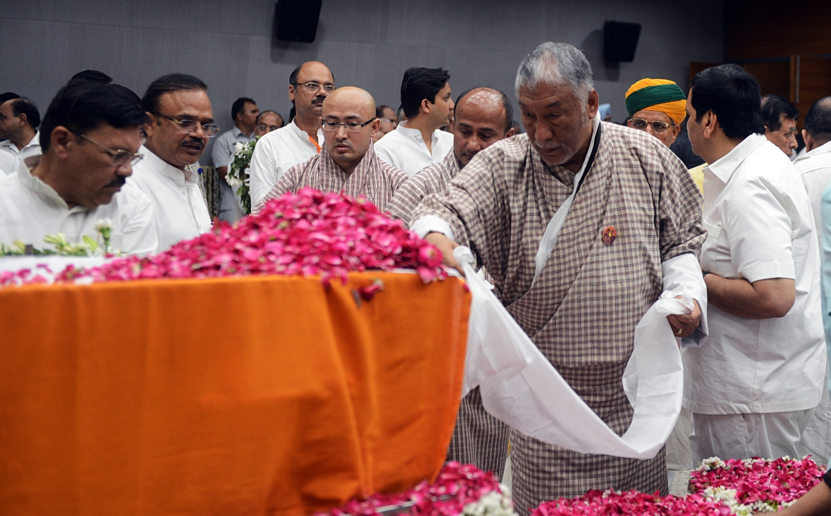 Bhutan Embassy staff pays tributes during the last respects of former Finance Minister Arun Jaitley at BJP headquarters in New Delhi