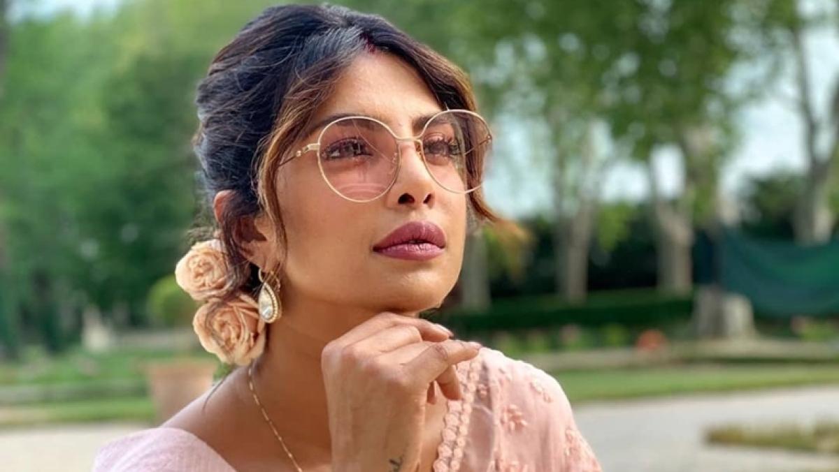 Priyanka Chopra looks ravishing in Sabyasachi's blush pink saree